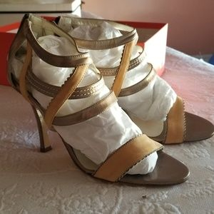 Claudia Ciuti Bronze and Tan Strap Heels